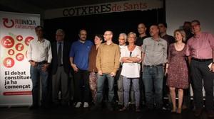 Algunos de los impulsores de Reinicia Catalunya, en la presentación de la plataforma en Barcelona, el 29 de mayo del 2015.