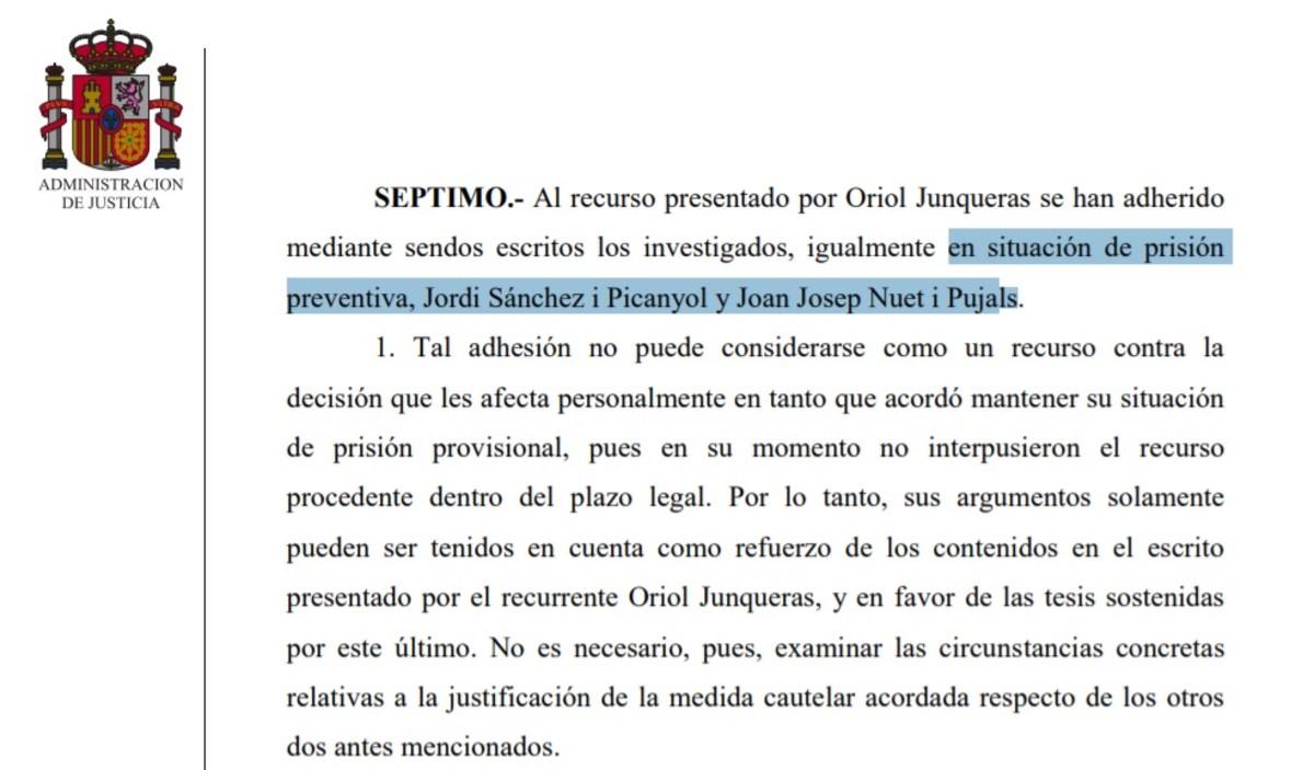 AUto del Tribunal Supremo en el que encarcela a Joan Josep Nuet.