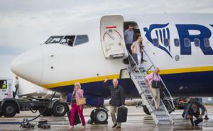 Un avión de Ryanair, la firma líder de bajo coste en enero.