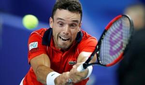 Bautista devuelve una volea, en su partido de Copa Davis en Lille, ante Pouille.