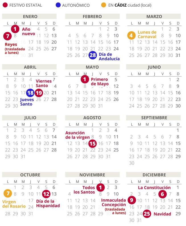 Calendario laboral de Cádiz del 2019.