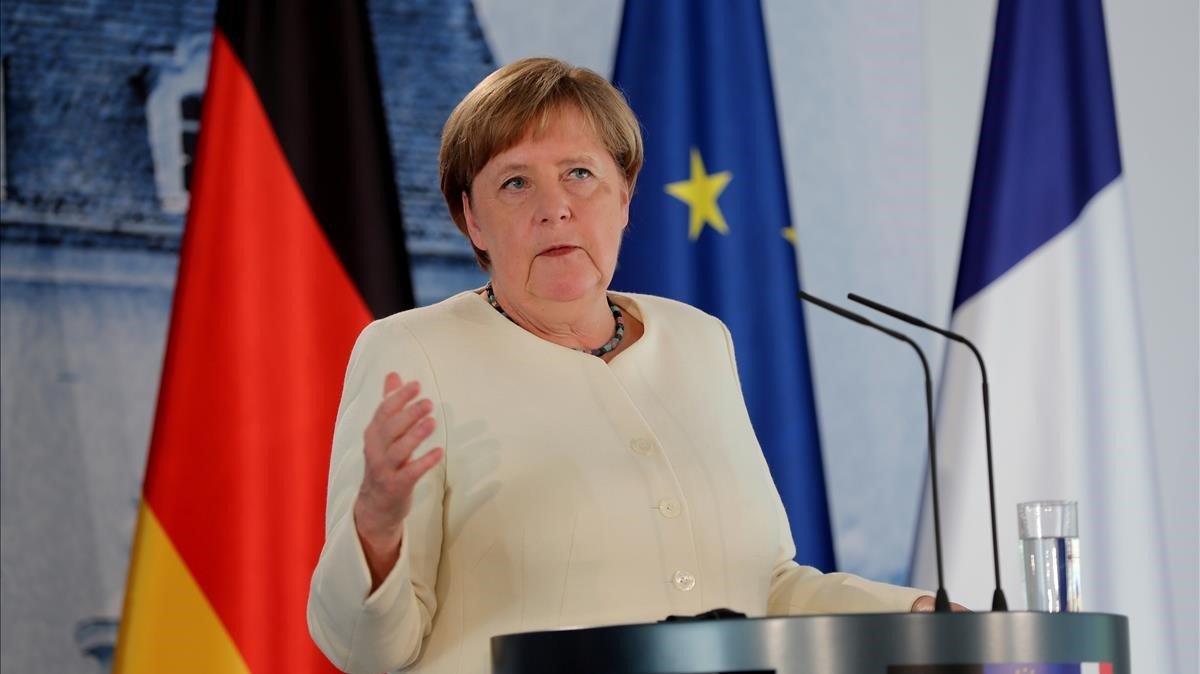 La cancillera alemana, Angela Merkel, durante un rueda de prensa.