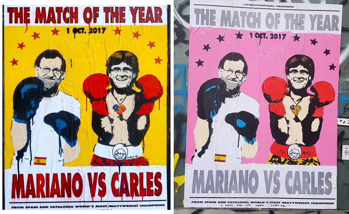Carteles del combate del año entre Rajoy y Puigdemont, obra de Tvboy.