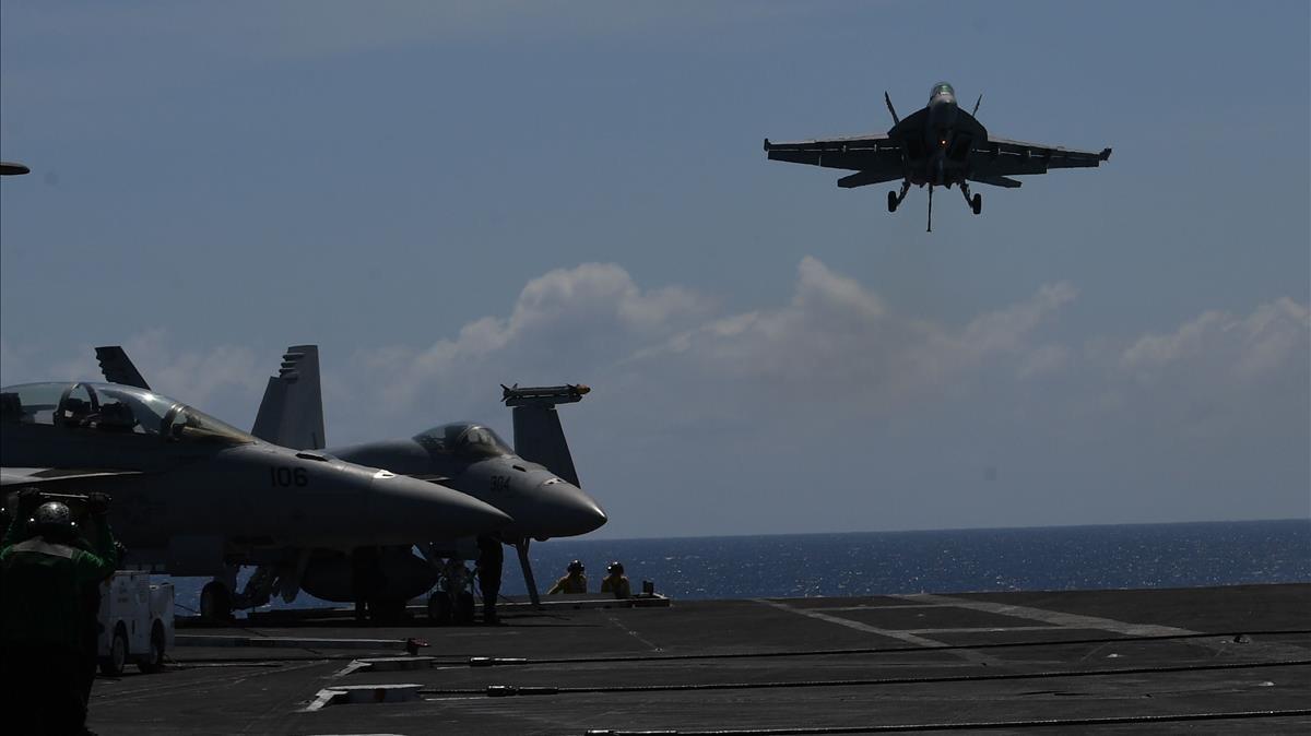 Cazas FA-18 Hornet de EEUU, en un entrenamiento el pasado 10 de abril.