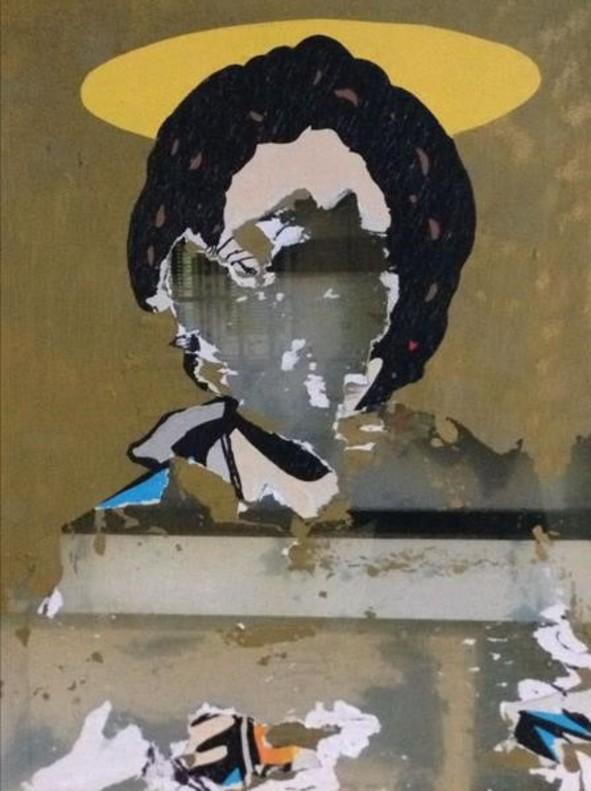 El retrato de Ada Colau realizado por Tvboy en la calle del Bisbe ya ha sido dañado.