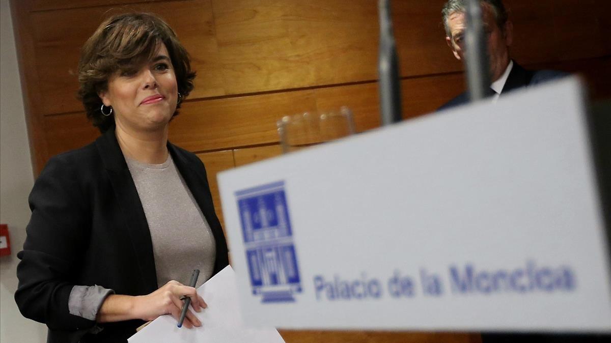 Comparecencia de la vicepresidenta del Gobierno, Soraya Sáenz de Santamaría, el pasado día 16.