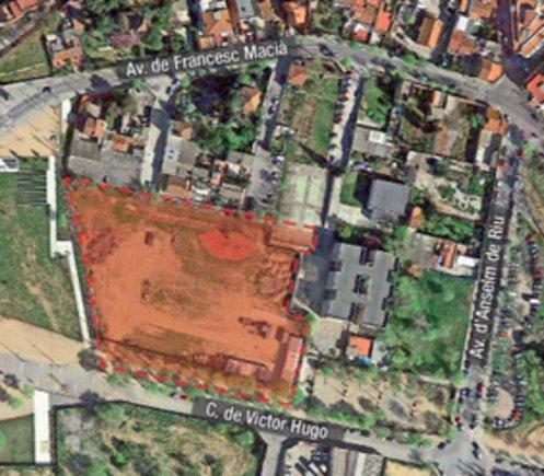 Imagen aérea del espacio escogido, previsto en Can Zam, para el centro termal.