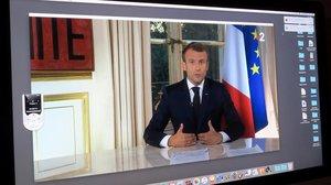 Emmaneul Macron, durante su mensaje pregrabado.