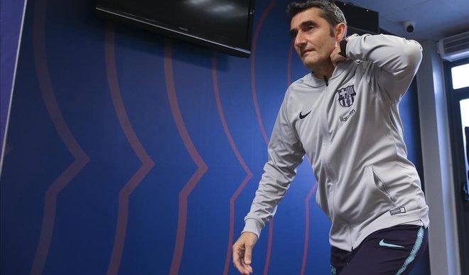 Ernesto Valverde, antes de la rueda de prensa.