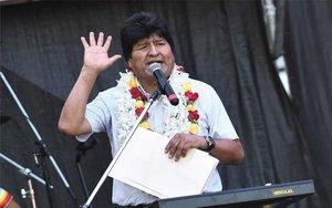 Evo Morales en un discurso público en Argentina.