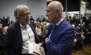 El exlíder de Unió, Josep Antoni Duran Lleida, con el exdiputado en el Congreso Josep Sánchez Llibre, este jueves, en Barcelona.
