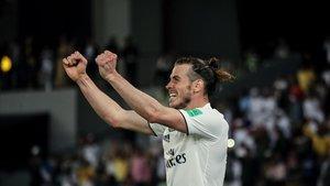 Gareth Bale celebrando un tanto con el Real Madrid