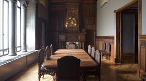 El comedor que Camil Oliveras realizó para el Palau Fonollar y que luego fue trasladado al Palau Güell, donde ahora luce.