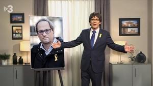 Imagen del Polònia, con el Puidemont de pega anunciando la elección de Quim Torra.