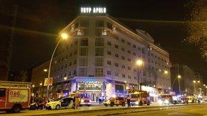Incendio en el hotel Tryp Apolo de Barcelona.