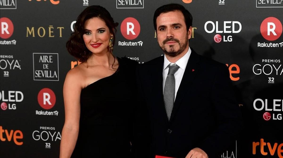 Alberto Garzón y Anna Ruiz durante la gala de los premios Goya el pasado febrero.