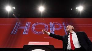 Jeremy Corbyn en el congreso del Partido Laborista enBrighton.