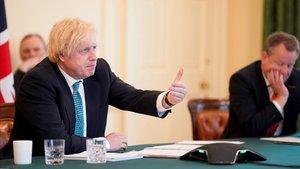 Johnson hoy durante la videoconferencia con los responsable de la Unión Europea.