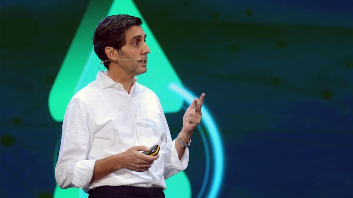 José María Álvarez-Pallete, presidente de Telefónicaen una conferencia.