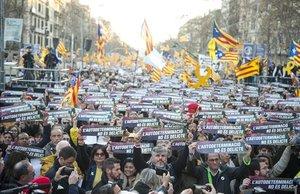 Manifestación soberanista el pasado sábado 16 de febrero en Barcelona.