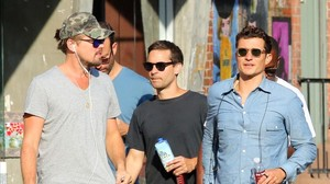Leonardo Dicaprio, Tobey Maguire y Orlando Bloom, el pasado miércoles enNueva York.