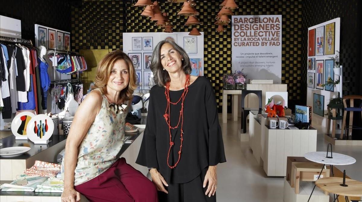 Elena Foguet y Nani Marquina, en el espacio Barcelona Designers Collective en La Roca Village.