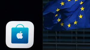 El logo de Apple y la bandera de la UE.