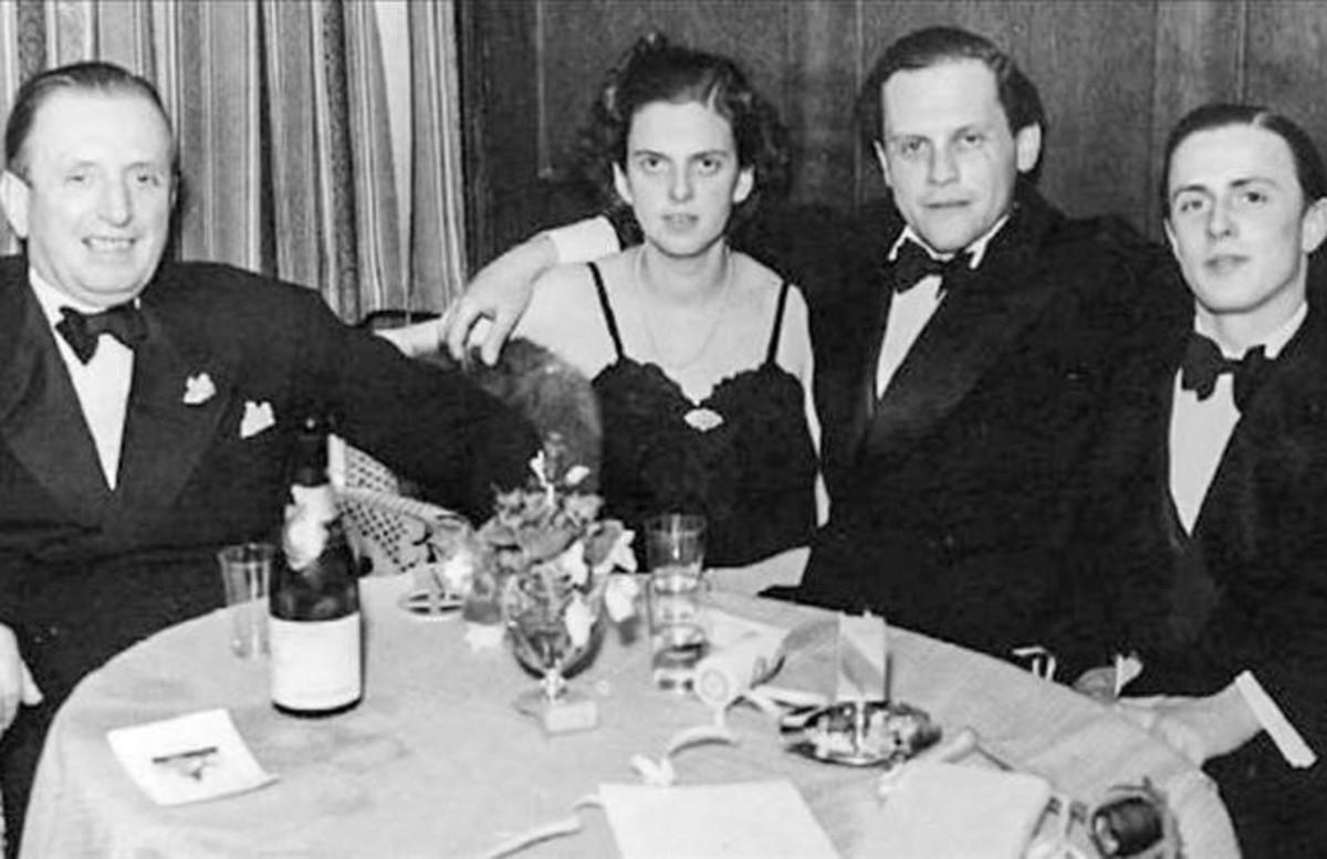 De izquierda a derecha, el barón Heinrich Thyssen, su hija Margit, el marido de esta, Ivan Batthyány, y su hermano Hans Heinrich Thyssen-Bornemisza (coleccionista de arte como su padre), durante la segunda guerra mundial.