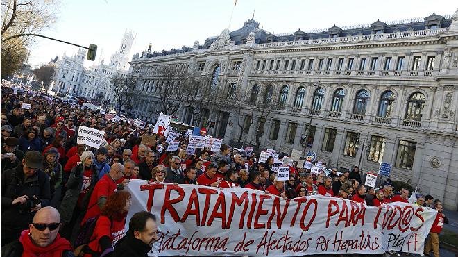 Manifestació d'afectats per l'hepatitis C a Madrid.