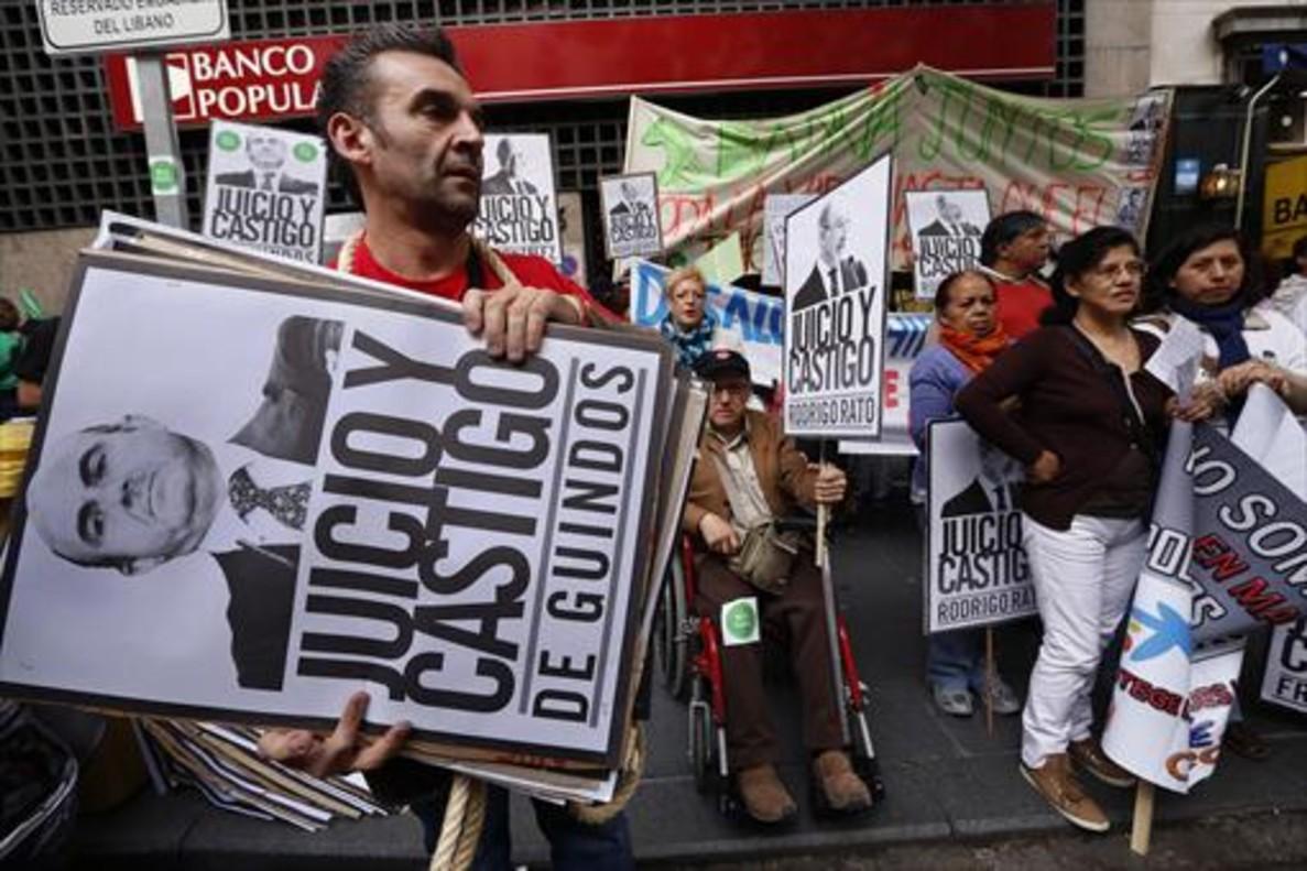 Manifestación de protesta de los afectados por las hipotecas con cláusulas abusivas.