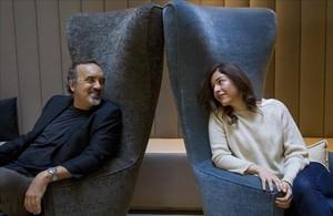 Manuel Moyano y Guadalupe Nettel, el lunes en Barcelona.