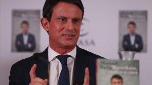 Manuel Valls, durante la presentación de su libro Barcelona, vuelvo a casa.
