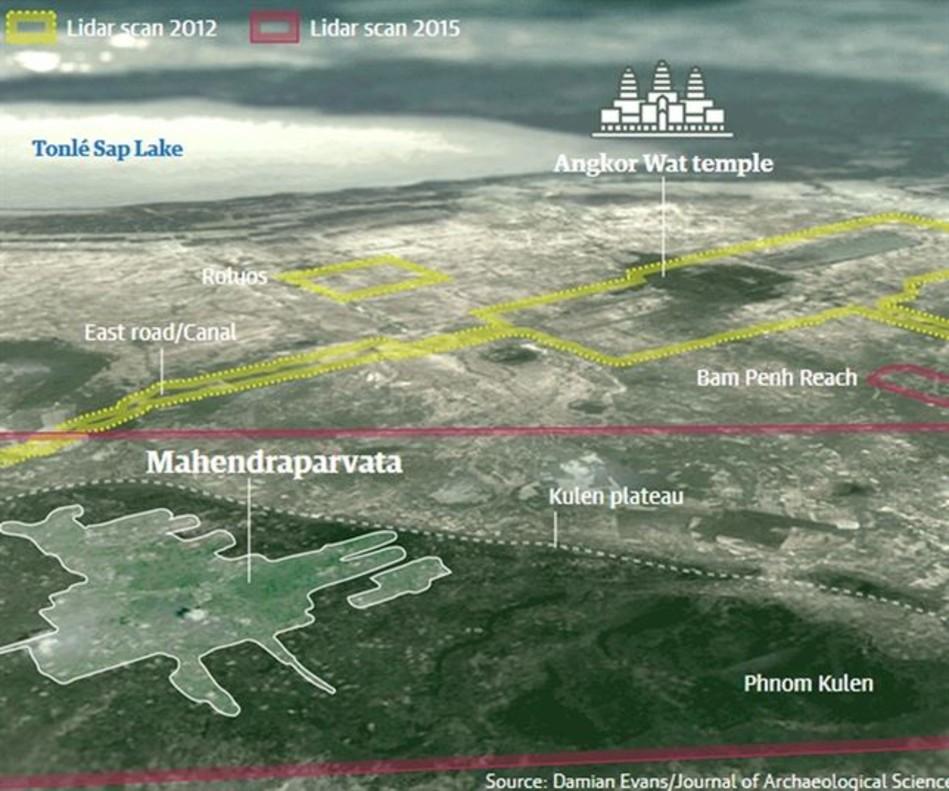 Mapa de la zona de Camboya rastreada desde el aire en el marco del proyecto CALI.