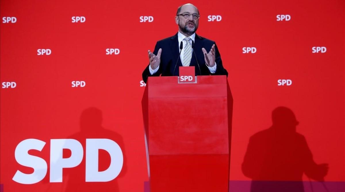 Martin Schulz ofrece una rueda de prensa en Berlín.