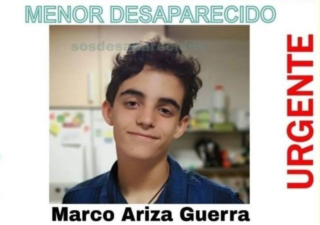 Un fragmento del cartel que ha difundido SOS Desaparecidos para encontrar a Marco Ariza.