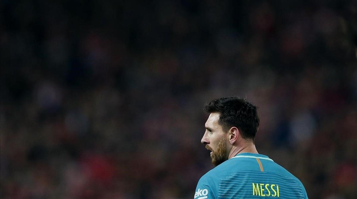 Messi, en el Atlético-Barça de la Copa en el Calderón.
