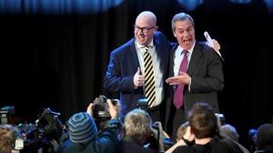 Nuttall y Farage, tras la elección del primero como líder del UKIP.