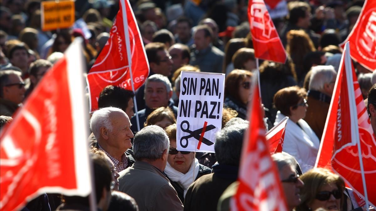 Una manifestación en contra de la reforma laboral.