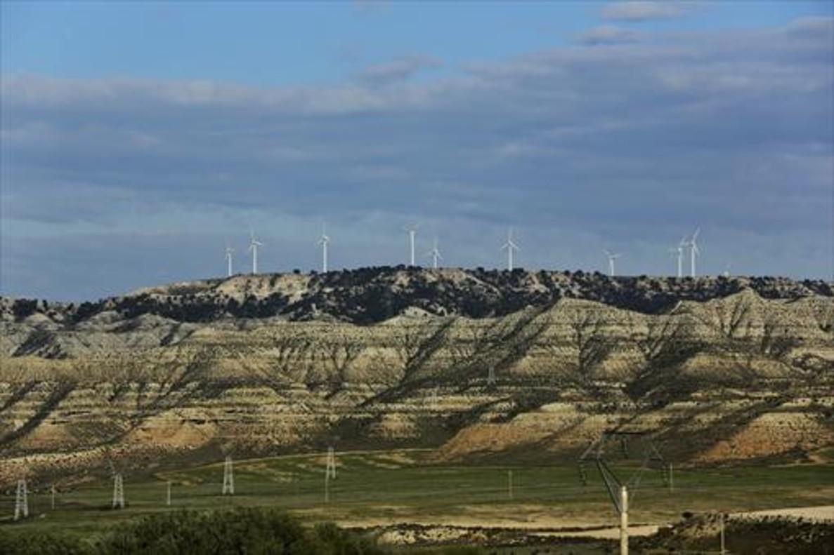 Parque de energía eólica en los Monegros, en la provincia de Zaragoza.