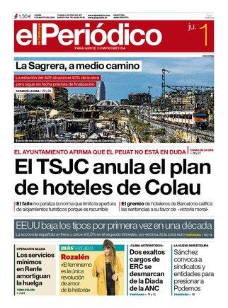 La portada de EL PERIÓDICO del 1 de agosto del 2019