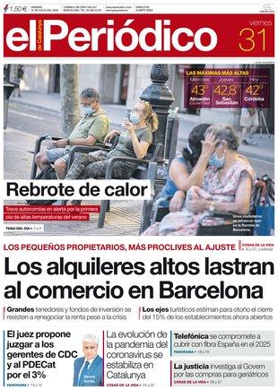 La portada de EL PERIÓDICO del 31 de julio del 2020.