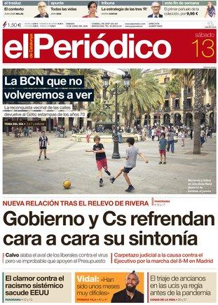 La portada de EL PERIÓDICO del 13 de junio del 2020