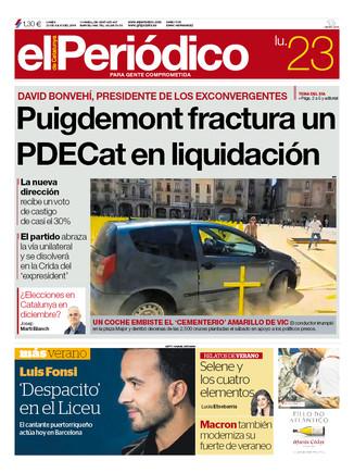 La portada de EL PERIÓDICO del 23 de julio del 2018