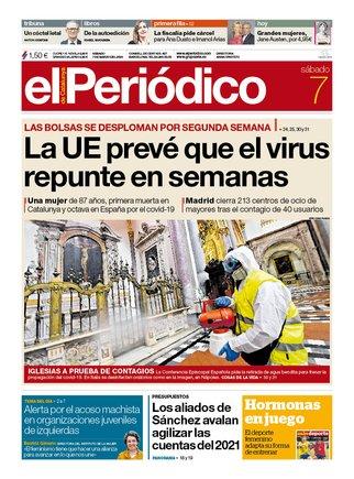 La portada de EL PERIÓDICO del 7 de marzo del 2020.