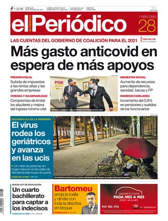 La portada de EL PERIÓDICO del 28 de octubre del 2020