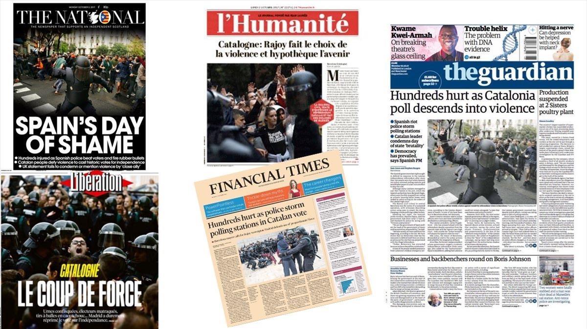 Varias portadas de la prensa internacional, con la represión policial como tema central.