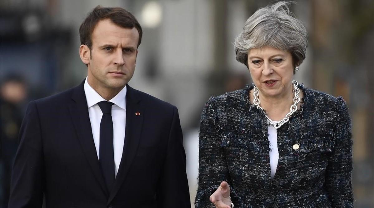 El presidente de Francia, Emmanuel Macron (izquierda), y la primera ministra británica, Theresa May, en una imagen de archivo.