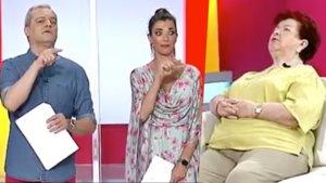 Ramón García, Gloria Santoro y la señora que se había quedado dormida en 'En Compañía'.