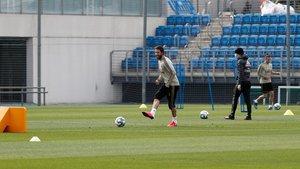 Ramos, en el primer entrenamiento del Madrid tras el confinamiento.