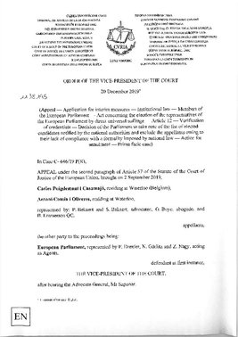 Resolución del TJUE que anula el fallo del TG sobre Puigdemont y Comín